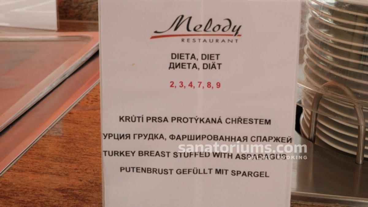 Пример меню с питанием по номерной системе диет