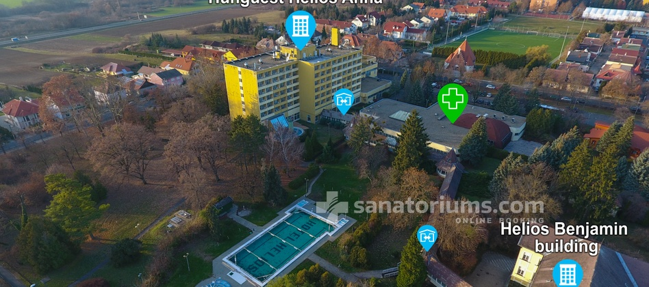 Spa Hotel Helios - location of the buildings of the spa hotel, therapeutic department and warm indoor passages