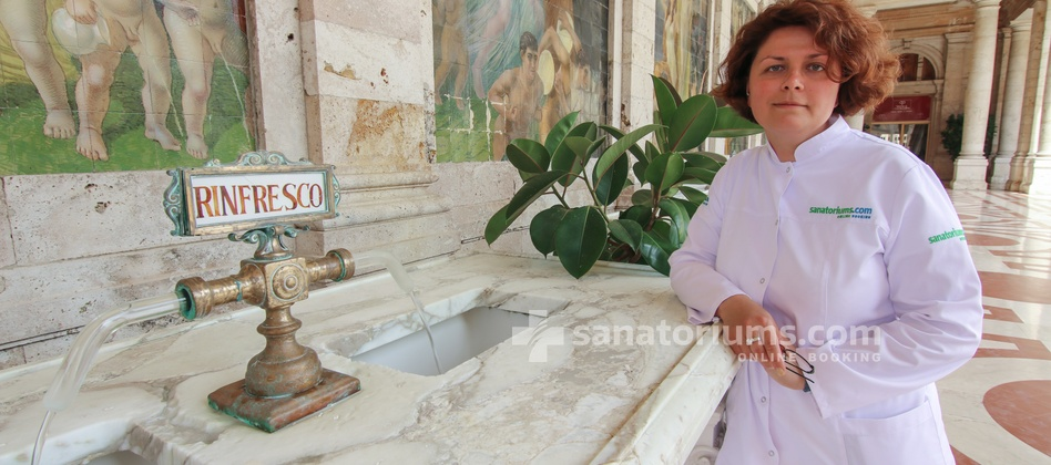 "Hotel Michelangelo and Spa - sanatoriums.com doctor E. Khorosheva in the summer drinking pump-room ""Terme Tettuccio"""